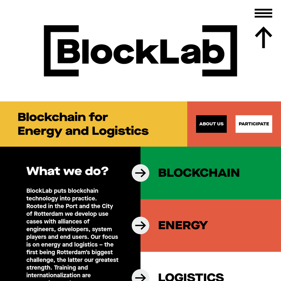 BlockLab puts blockchain technology into practice. Rooted in the Port and the City of Rotterdam we develop use cases with alliances of engineers, developers, system players and end users. Our focus is on energy and logistics - the first being Rotterdam's biggest challenge, the latter our greatest strength.