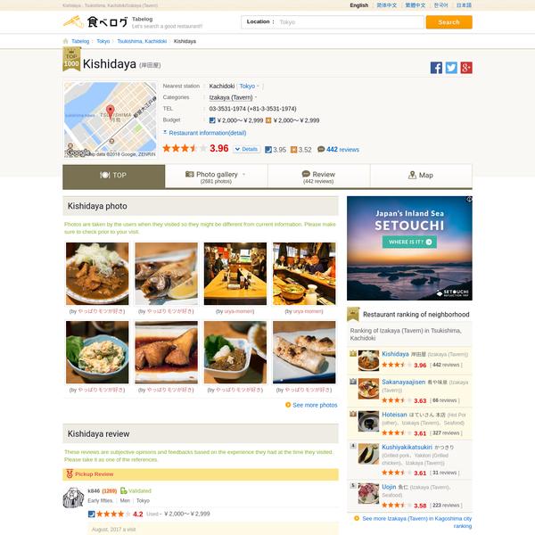 Kishidaya - Tsukishima, Kachidoki/Izakaya (Tavern) [Tabelog]