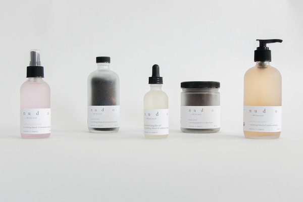 Great description of brand's ethos behind their labelling:  'Nudo skincare is a brand focusing on the environment which means all the products are 100% natural and organic without the use of harmful ingredients. Nudo is Spanish for naked meaning there's nothing to hide. To reflect this, a play on stripping is visualized by gradually extending the space between each letter, leaving at the end the letter 'o' completely naked and isolated from the rest. The brand style consists of a minimal design with a very neutral colour palette which also helps to reflect the purity and simplicity of the brand. The underscore is used as a harmony line that represents the simplicity of every single ingredient used on each product. This line was combined with the typeface to create a natural and medicinal sense for each label.'
