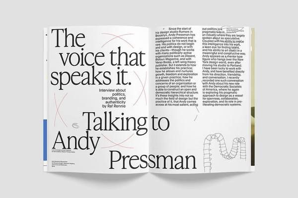 Spread from Issue 03, interview by editor Raf Rennie (@lessthannil) with Andy Pressman (@andypressman). Available at store.talk-is.cheap