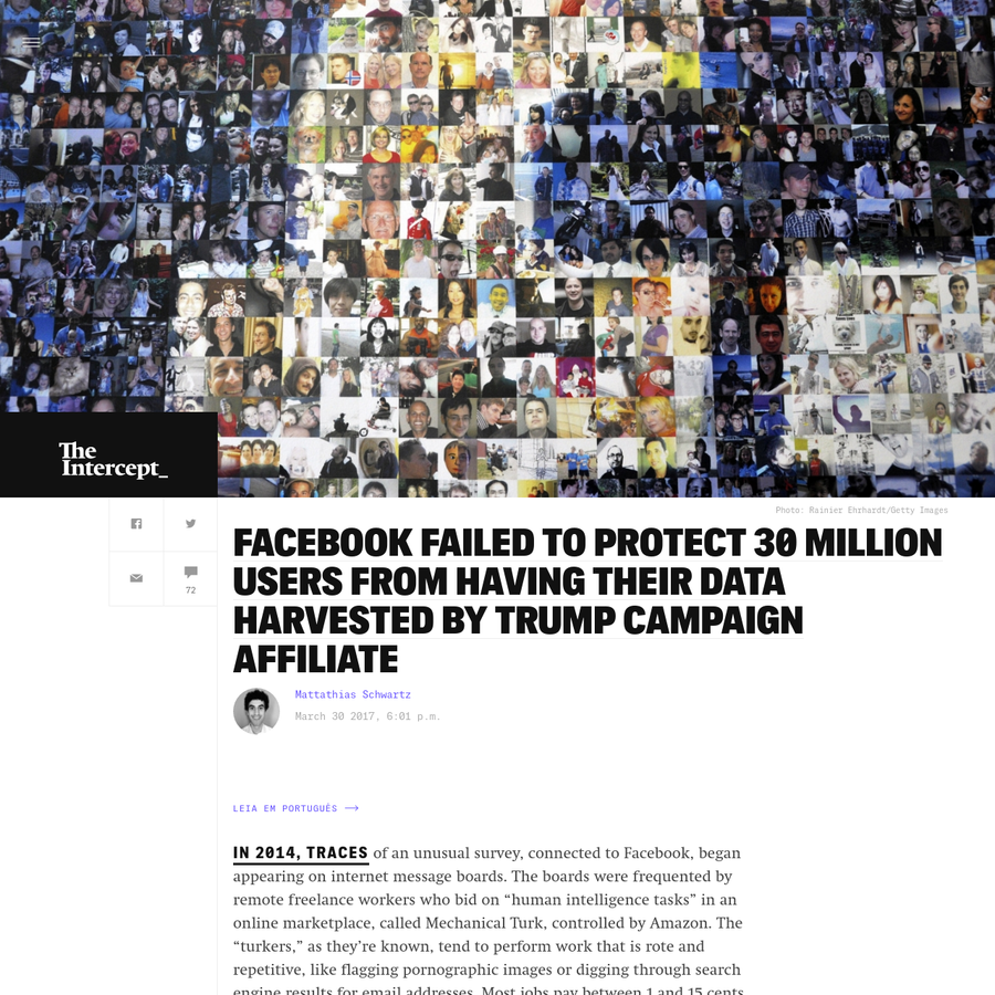 """In 2014, traces of an unusual survey, connected to Facebook, began appearing on internet message boards. The boards were frequented by remote freelance workers who bid on """"human intelligence tasks"""" in an online marketplace, called Mechanical Turk, controlled by Amazon."""