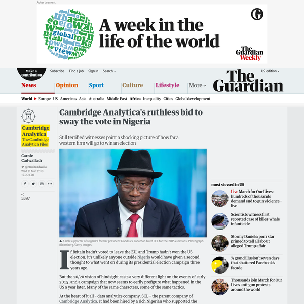Cambridge Analytica's ruthless bid to sway the vote in Nigeria