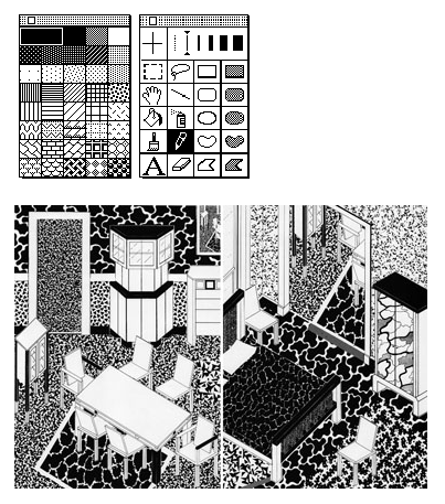 > MacPaint was the centerpiece of Mac aesthetics, where users could create their own graphics using tools designed by Susan Kare and her team. Kare's patterns, created in 1983, are remarkably evocative of Memphis's, and the amoeboid losenge and anvil-like trapezoid on MacPaint's basic toolbar reveals a formal influence as well. Even Kare's famous system font, Chicago, nods to Memphis by picking up the name of a famous American city for an arbitrary reason. In so doing, Chicago the font and Memphis the movement are rendered equivalent to places we know while not even evoking them in the slightest. So there's a metaphorical flattening as well.  [On Memphis, Pattern, and MacPaint - Lined and Unlined](http://blog.linedandunlined.com/post/404171838/on-memphis-pattern-and-macpaint)