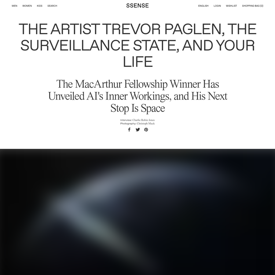 Trevor Paglen is moving studios. For years, he's kept a workspace in Berlin's Mitte neighborhood, in a flat once occupied by Laura Poitras, the documentary filmmaker who was one of the three journalists contacted by Edward Snowden to help facilitate the release of stolen NSA documents in 2013.
