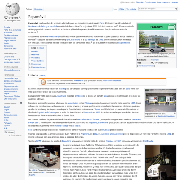 Papamóvil - Wikipedia, la enciclopedia libre