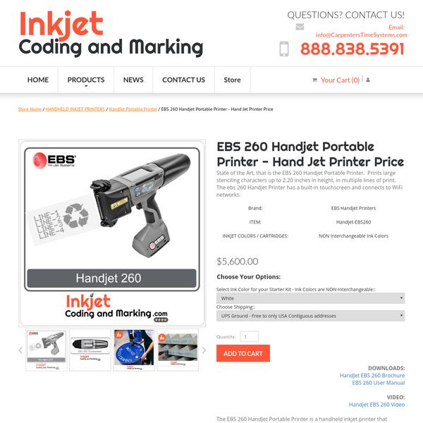 Are na / EBS 260 Handjet Portable Printer - Hand Jet Printer