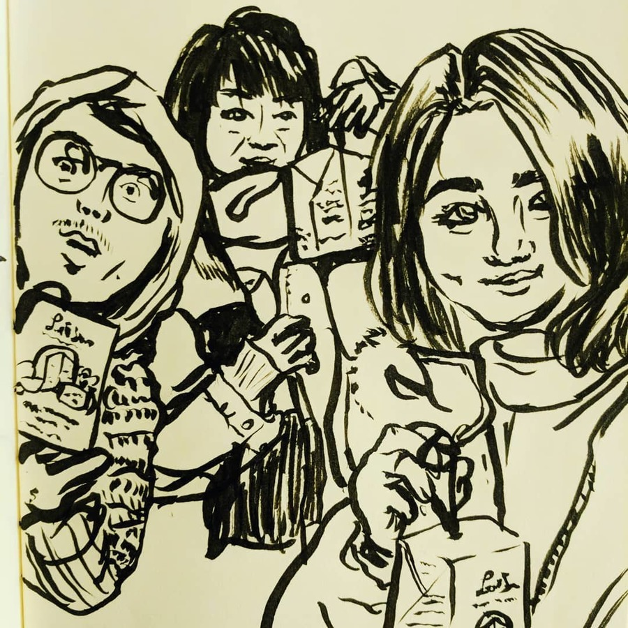 Kira Lum draws a selfie of Akira, herself, and I after New Year's Eve
