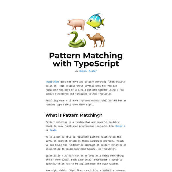 Pattern Matching with TypeScript