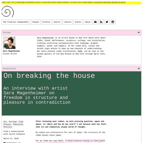 Sara Magenheimer on breaking the house