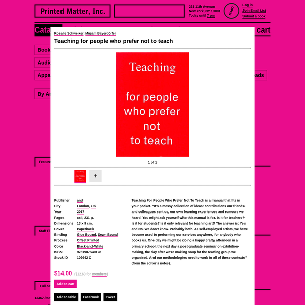 """Teaching For People Who Prefer Not To Teach is a manual that fits in your pocket. """"It's a messy collection of ideas: contributions our friends and colleagues sent us, our own learning experiences and rumours we heard. You might ask yourself who this manual is for. Is it for teachers?"""