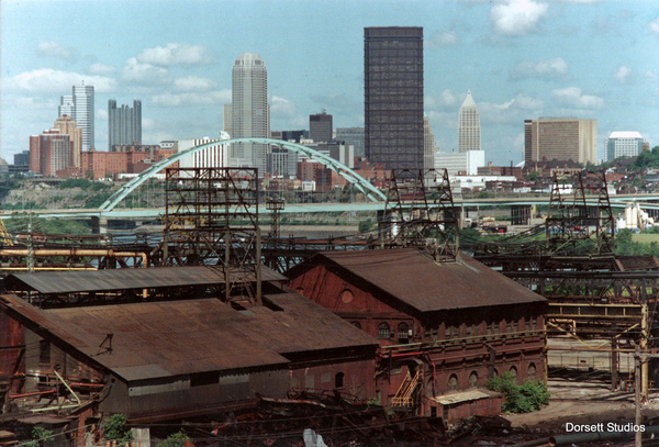 A scanned color print. Pittsburgh skyline, mid 1980's