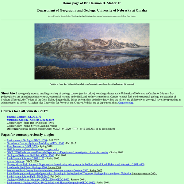 Dr. Harmon D. Maher Jr., courses, research, Spitsbergen