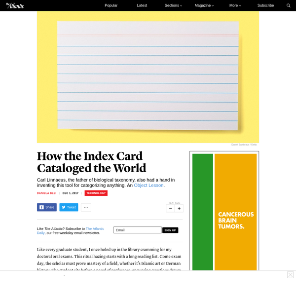 How the Index Card Cataloged the World