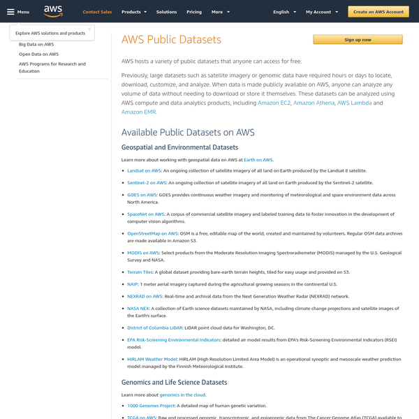 AWS Public Datasets let anyone access large data sets from a centralized data repository and quickly analyze them using Amazon EC2, Amazon EMR, and other AWS data analytics products.