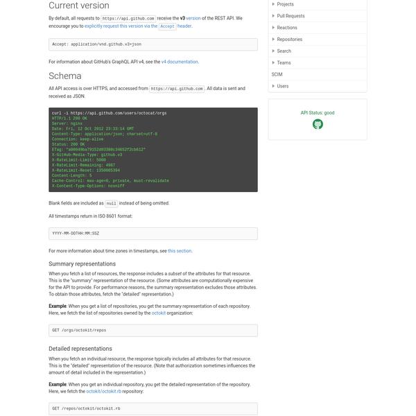 Are na / GitHub API v3 | GitHub Developer Guide