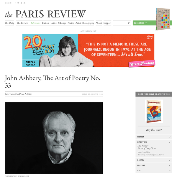 John Ashbery, The Art of Poetry No. 33