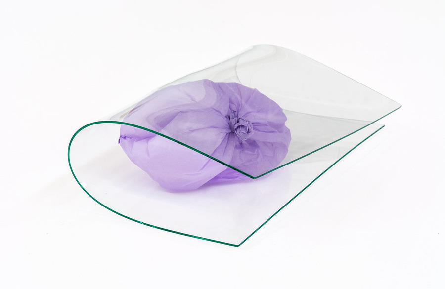 *They say it makes miracles*, Tania Pérez Córdova, 2015. Glass from a window facing north, plastic bag. 13 × 45 × 25.5 cm.