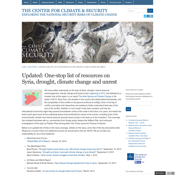 Updated: One-stop list of resources on Syria, drought, climate change and unrest
