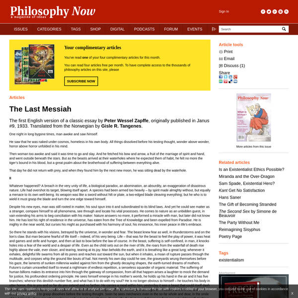 The Last Messiah | Issue 45 | Philosophy Now