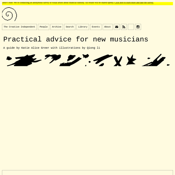 Practical advice for new musicians
