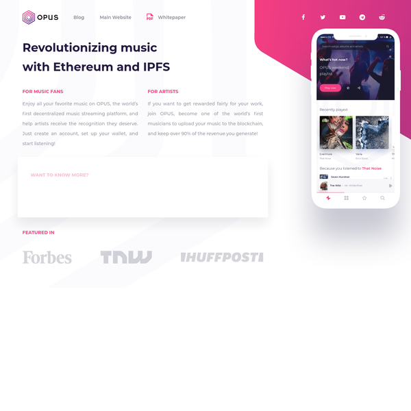 What we have developed is a beta-ready, 4 layer decentralized system that uses cutting edge low latency IPFS as a storage layer to store songs permanently and transparently. A Ethereum-based logic layer to handle all the transactions on the Opus network.
