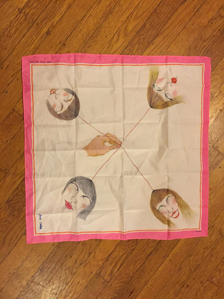 BIZARRE SCARF faces and hands printed foulard pocket square japanese drawing lipstick lips thread weird unique unusual strange novelty