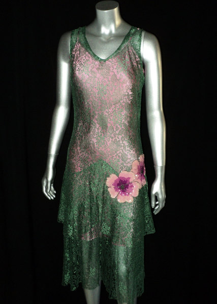 1920's Green Lace Dress Pink Slip Featuring various Pink Sequin Floral Appliques Art Deco, Flapper, Party Dress, Layered Skirt - $495.00 USD