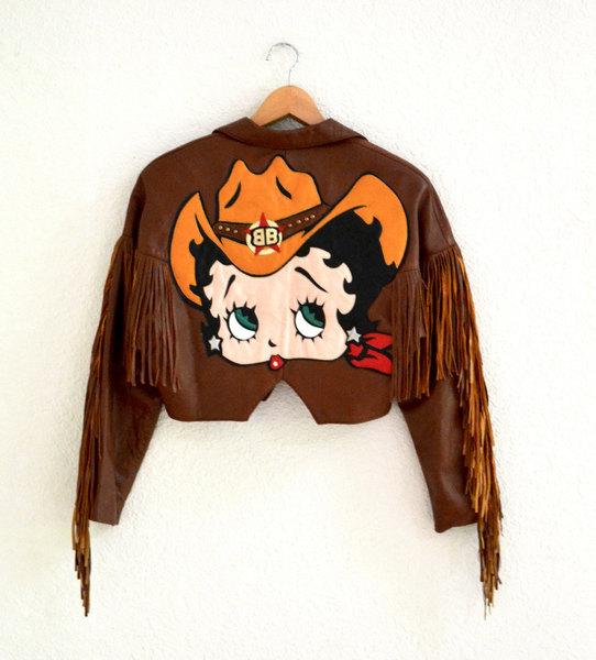 Brown Leather Motorcycle Jacket with Betty Boop// Vintage Brown Leather Jacket Size Medium Comic Pin Up Girl Fringe J30