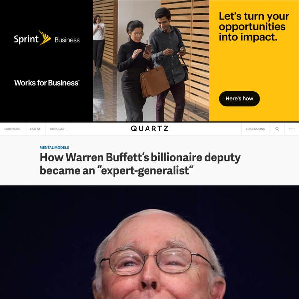 """How Warren Buffett's billionaire deputy became an """"expert-generalist"""""""