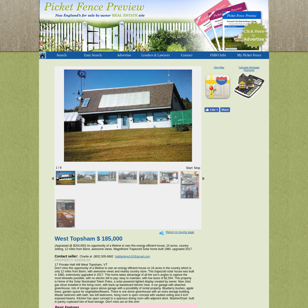 """24 acres in Vermont. """"This trapezoid solar house was built in 1980, extensively upgraded in 2017. This home takes advantage of all the sun's angles to capture the most kilowatts possible, with no electric bill to pay; easy to maintain, with low taxes of $2,504. This property is Home of the Solar Illuminated Totem Poles, a solar-powered lighted display created by owner. New Jotul gas stove installed in the living room, with back-up baseboard electric heat. 4-car garage with attached greenhouse, lots of storage space above garage with a possibility of rental property. Blueberry bushes, apple trees, garden space for vegetables/flowers. There is one dome greenhouse with an extra storage building. Master bedroom with bath, two loft bedrooms, living room is open concept with vaulted ceiling and 4 inch exposed beams. Kitchen has open concept to a spacious dining room with adjacent deck. Washer/Dryer. built in pantry cupboard lots of food storage. Don't miss out on this one!"""""""