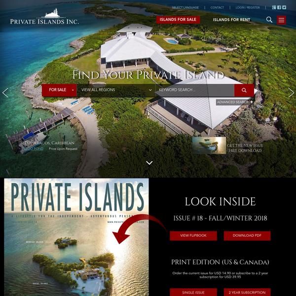 Browse hundreds of islands available for sale and rent worldwide. Private Islands Online is the most comprehensive guide to buying, selling and renting private islands. Explore the possibilities...