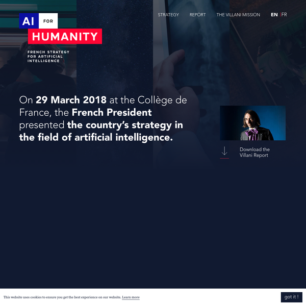 The Prime Minister Édouard Philippe tasked Cédric Villani with a mission on artificial intelligence. The goal was to lay the foundations of an ambitious French strategy in the AI field.