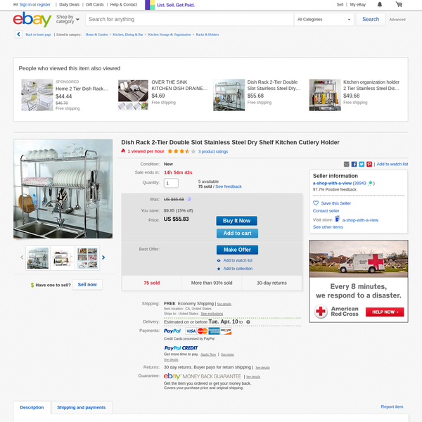 Dish Rack 2-Tier Double Slot Stainless Steel Dry Shelf Kitchen Cutlery Holder | eBay