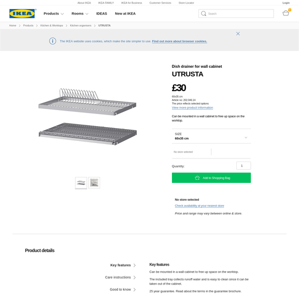 IKEA UTRUSTA Dish drainer for wall cabinet 60x35 cm Can be mounted in a wall cabinet to free up space on the worktop.