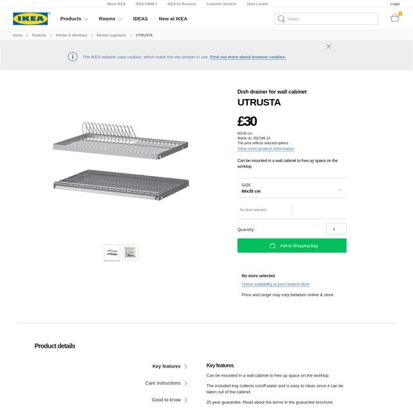 UTRUSTA Dish drainer for wall cabinet 60x35 cm - IKEA