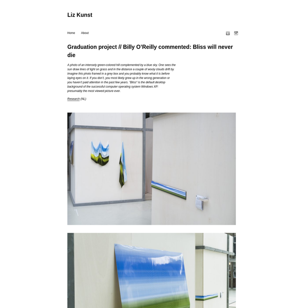 """Liz Kunst """" Graduation project // Billy O'Reilly commented: Bliss will never die"""