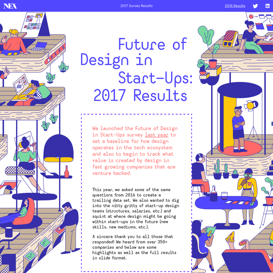 We launched the Future of Design in Start-Ups survey last year to set a baseline for how design operates in the tech ecosystem and also to begin to track what value is created by design in fast growing companies.