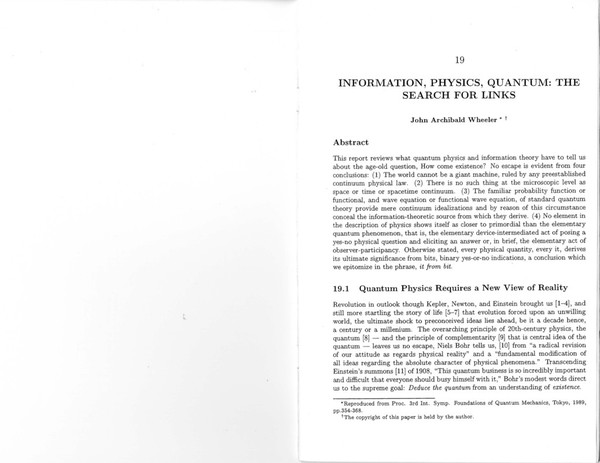 INFORMATION, PHYSICS, QUANTUM: THE SEARCH FOR LINKS by John Archibald Wheeler