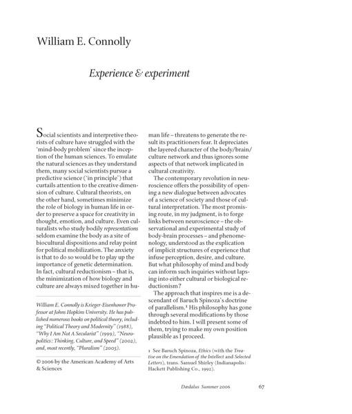 Experience & experiment, William E. Connolly