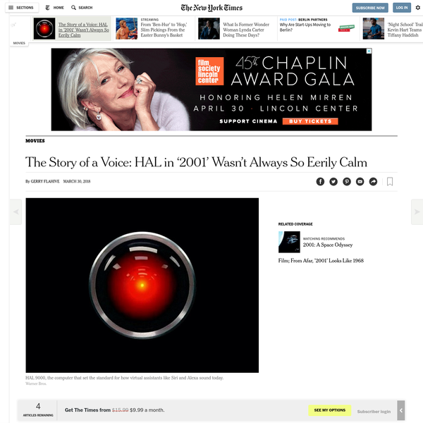"""Even when Kubrick was making the film, the director sensed HAL's larger implications. He said in a 1969 interview with the author and critic Joseph Gelmis that one of the things he was trying to convey was """"the reality of a world populated - as ours soon will be - by machine entities that have as much, or more, intelligence as human beings."""