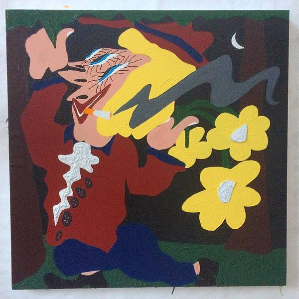 """Frolick"" @space1026 reception Aug4th . . #contemporarydrawing #contemporarypainting #painting #collage #nighttime #sunsetpointe #yellowflowers #artoftheday #artofvisuals #artoninstagram"