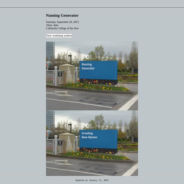 Very Interactive | Naming Generator