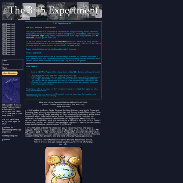 The 3:15 Experiment Homepage