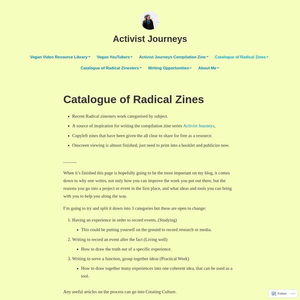 Catalogue of Radical Zines