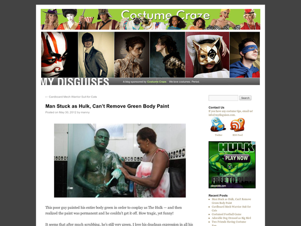 This poor guy painted his entire body green in order to cosplay as The Hulk - and then realized the paint was permanent and he couldn't get it off. How tragic, yet funny! It seems that after much scrubbing, he's still very green. I love his deadpan expression in all his photos.