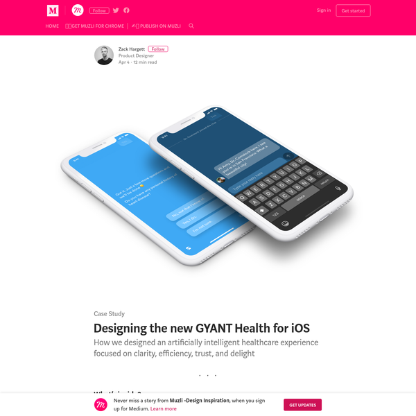 Case Study GYANT is a San Francisco-based startup combining artificial intelligence with telemedicine to partially replace in-person doctor visits for acute illnesses. You can think of GYANT as a friend to text when you're feeling unwell. 🤔 How does it work?