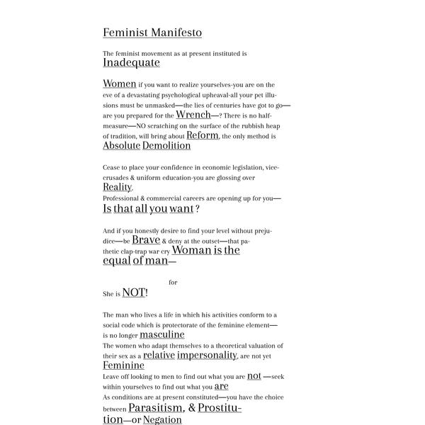 "Mina Loy, ""Feminist Manifesto"""