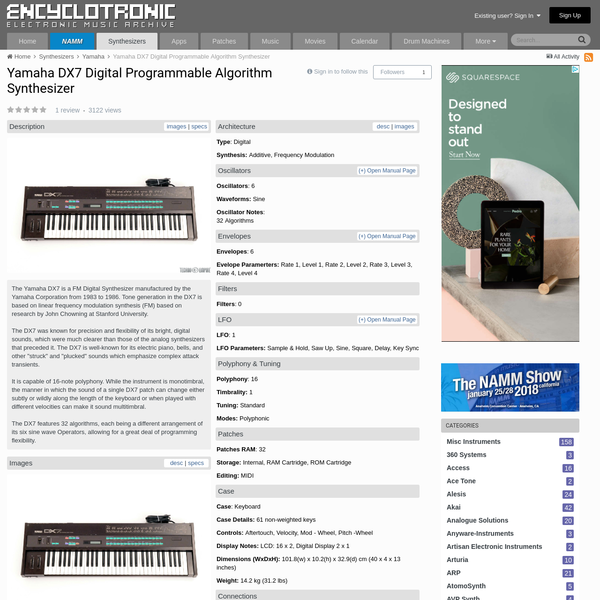Yamaha DX7 Digital Programmable Algorithm Synthesizer