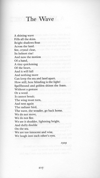 """Bishop, Elizabeth, """"The Wave"""" [1929], _The Complete Poems 1927–1979_ (New York: Farrar, Straus and Giraux, 1983), p. 217."""