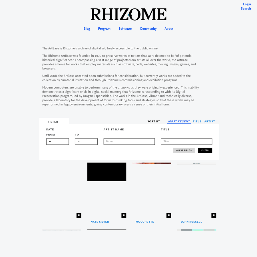 """The Rhizome ArtBase was founded in 1999 to preserve works of net art that were deemed to be """"of potential historical significance."""" Encompassing a vast range of projects from artists all over the world, the ArtBase provides a home for works that employ materials such as software, code, websites, moving images, games, and browsers."""